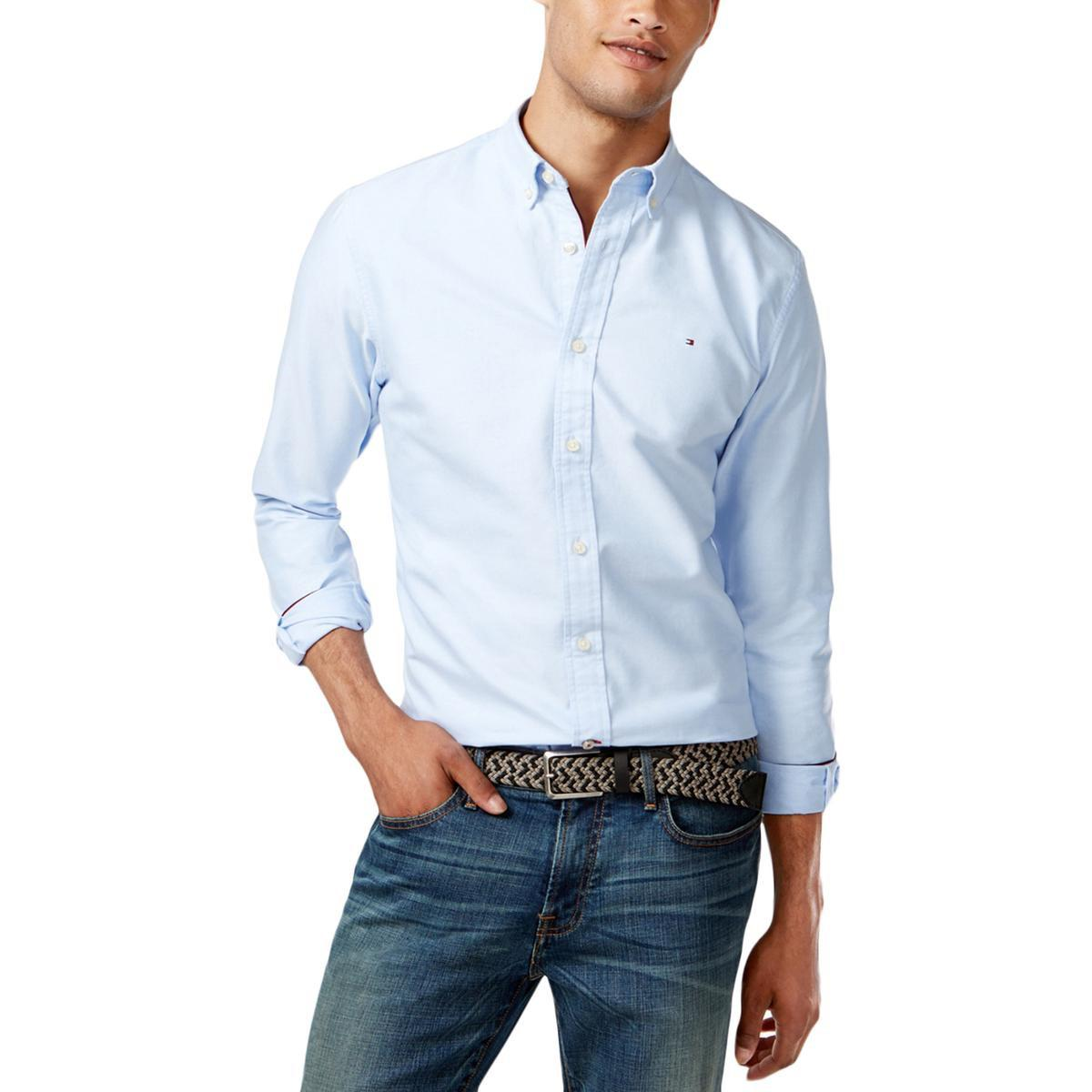 853e4707 Lyst - Tommy Hilfiger Custom Fit Heathered Button-down Shirt in Blue ...