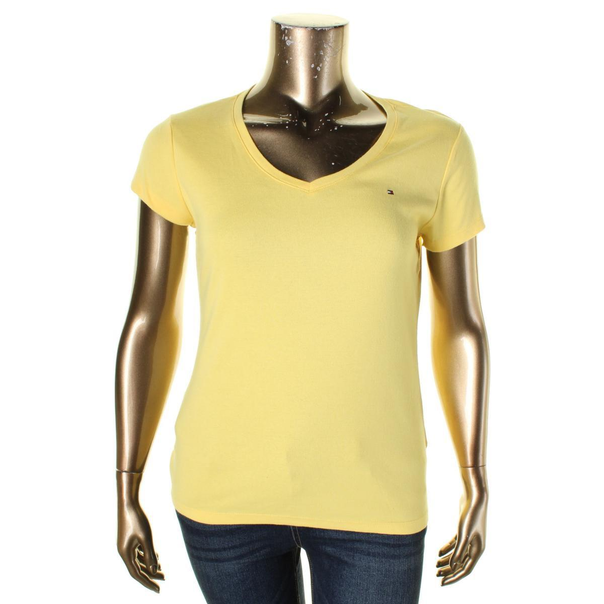 9fda0d13a6ce72 Lyst - Tommy Hilfiger Womens Monogram V-neck T-shirt in Yellow