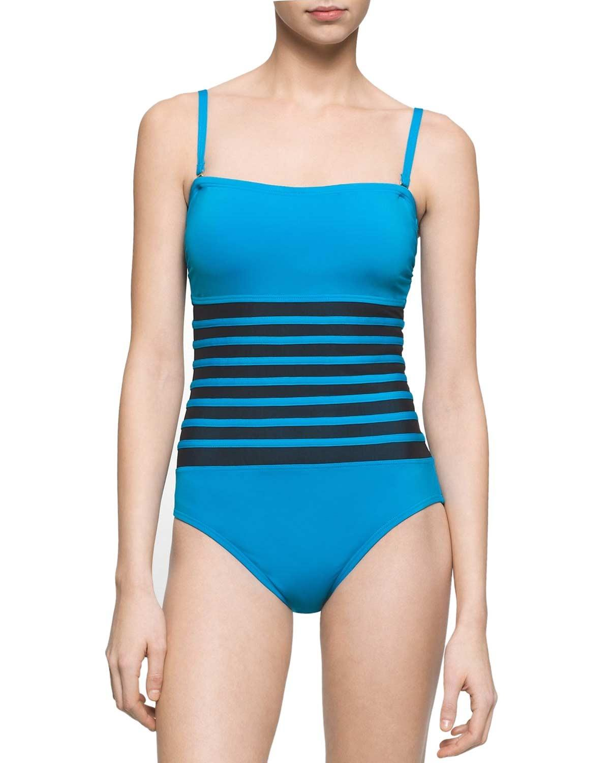 e6b76839014a75 Lyst - Calvin Klein Mesh Inset Bandeau One-piece Swimsuit Cyan Size ...