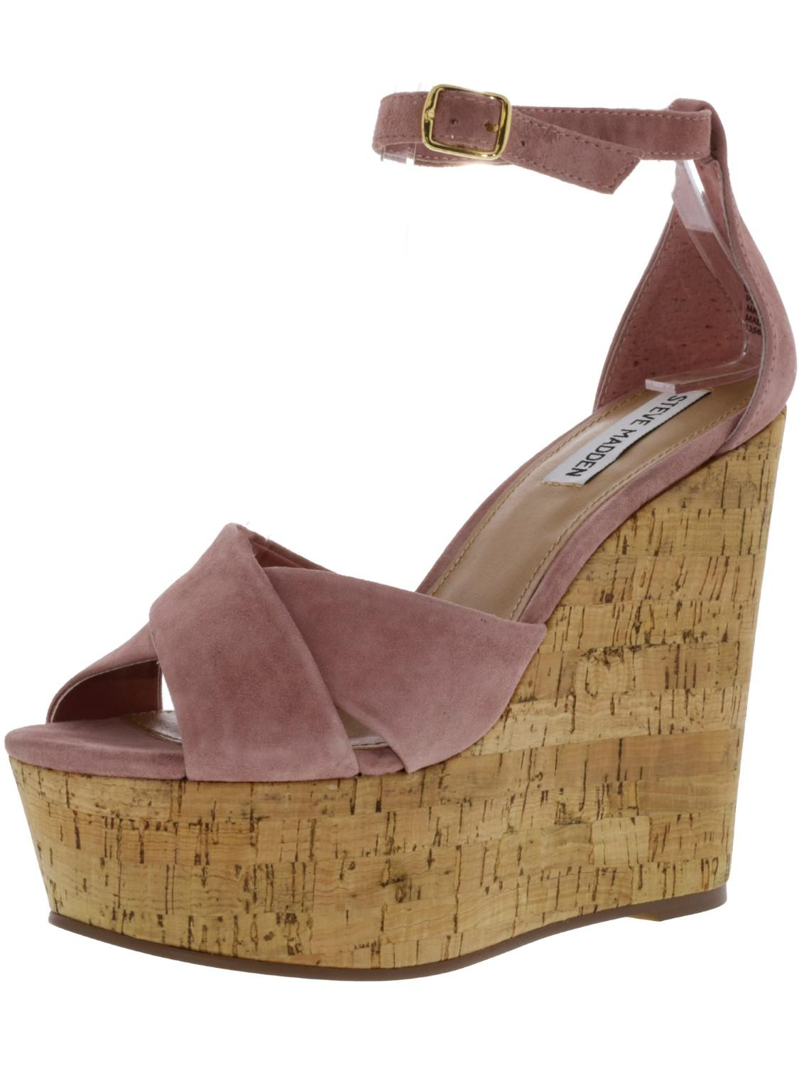 a55c5aac54c Lyst - Steve Madden Striking Suede Wedged Sandal - 8.5m in Pink