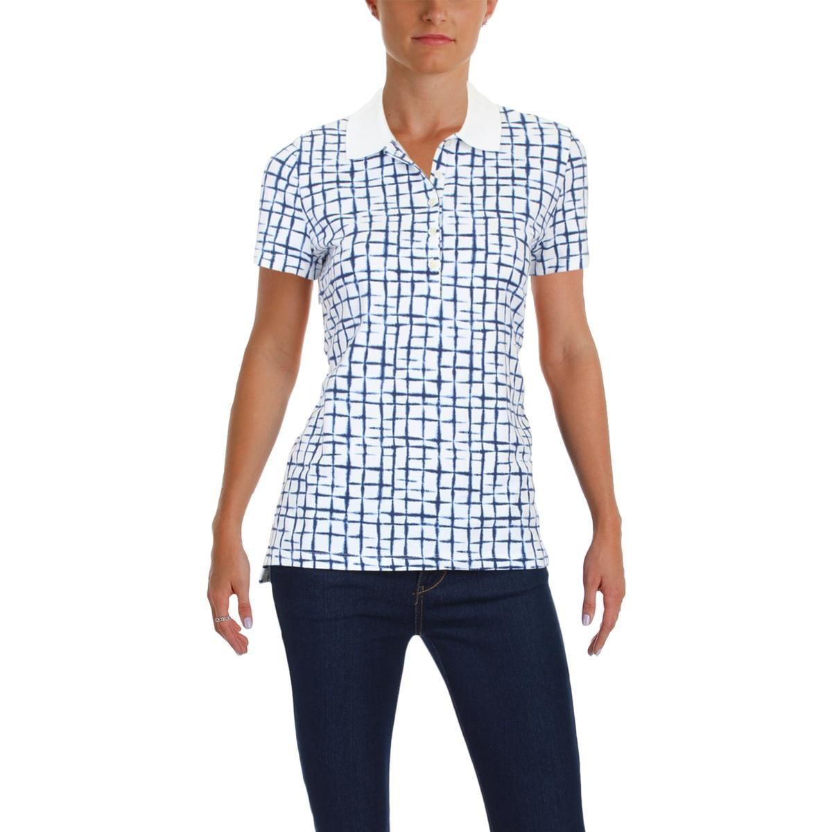 28c434641 Lyst - Tommy Hilfiger Knit Printed Polo Top in Blue