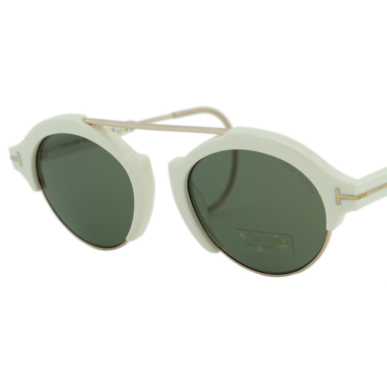 10245d3c72aff Tom Ford 2018 Farrah-02 Ft631 Ivory   Green T Logo Round Sunglasses ...