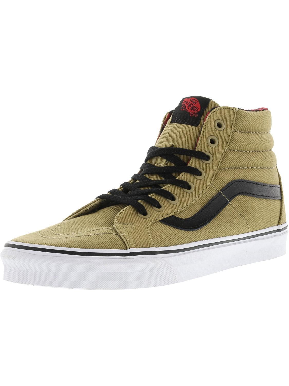 3bd7e784575 Vans. Women s Black Sk8-hi Reissue Twill And Gingham Ankle-high Canvas Skateboarding  Shoe ...