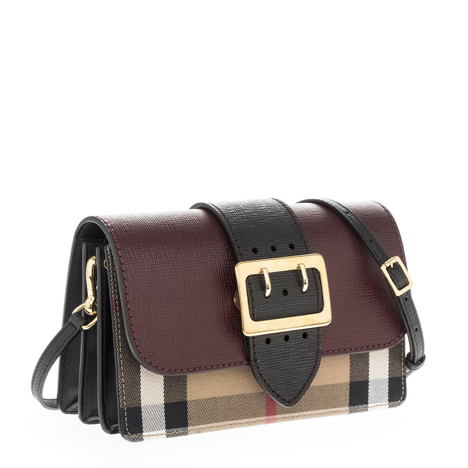 Lyst - Burberry Buckle Bag In House Check And Burgundy Black in Black 1932e75c06