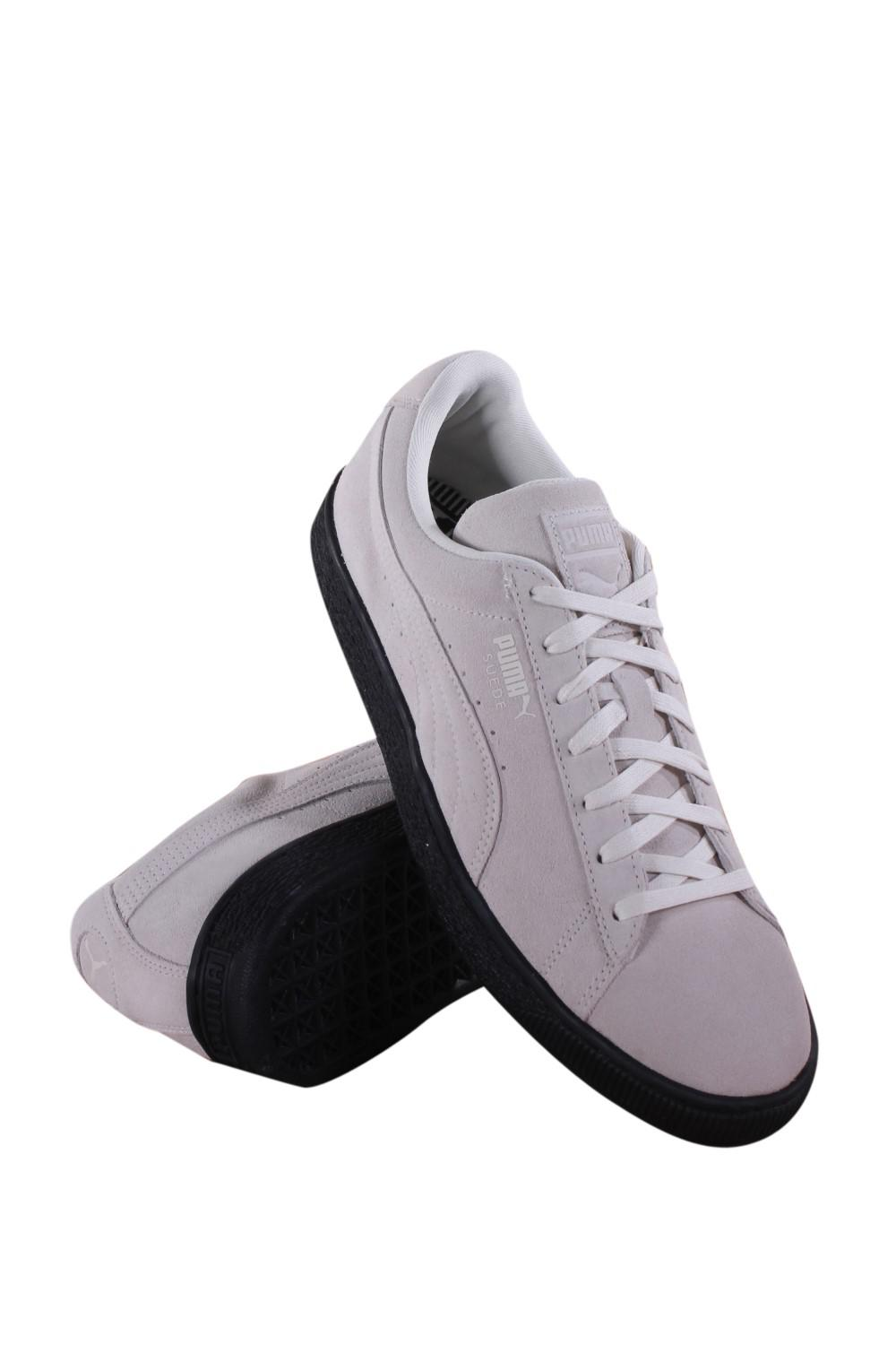 Lyst - Puma Suede Black Sole Whisper White Lace Up Sneakers in White ... be9bdc5ae