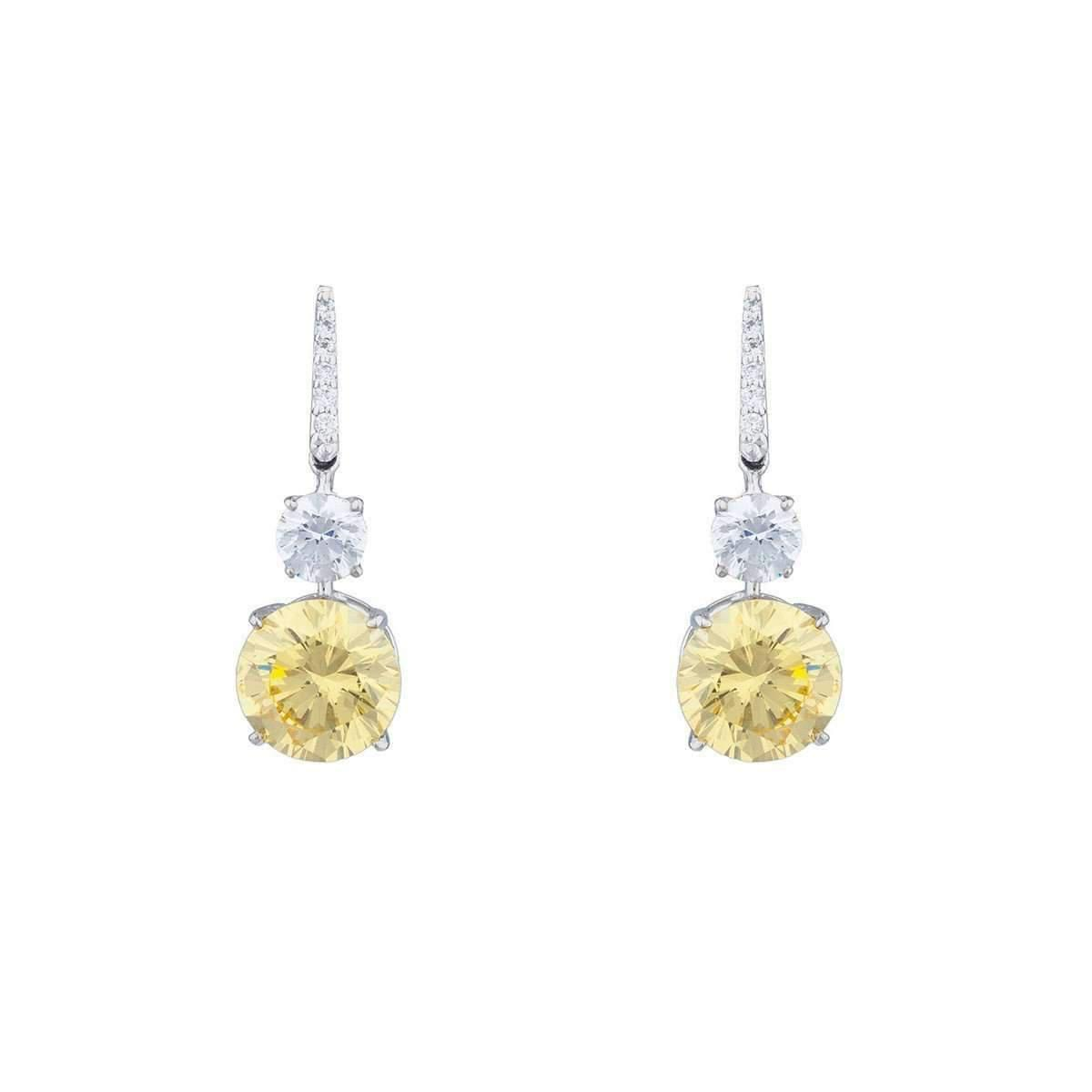 Fantasia Sterling Silver & Palladium Double Round Pave Drop Earrings cwAAp