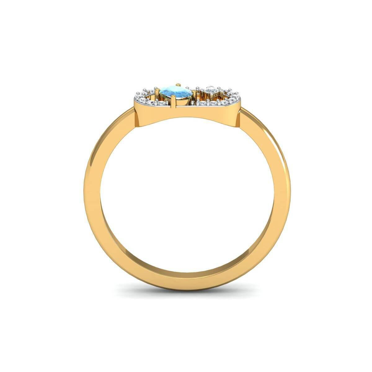 Diamoire Jewels 18kt Yellow Gold Pave 0.11ct Diamond Infinity Ring With Aquamarine - UK G 1/4 - US 3 1/2 - EU 45 3/4 jo02tq