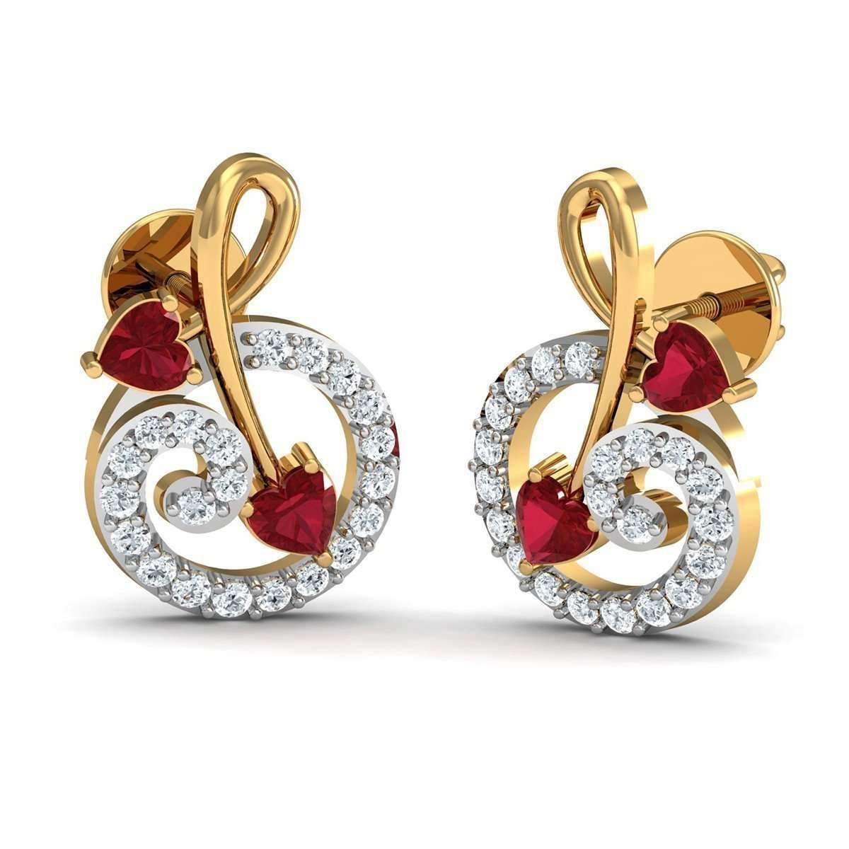 Diamoire Jewels 18kt Yellow Gold Earrings With Pear Cut Rubies and Round Shape Diamonds Ney1V4