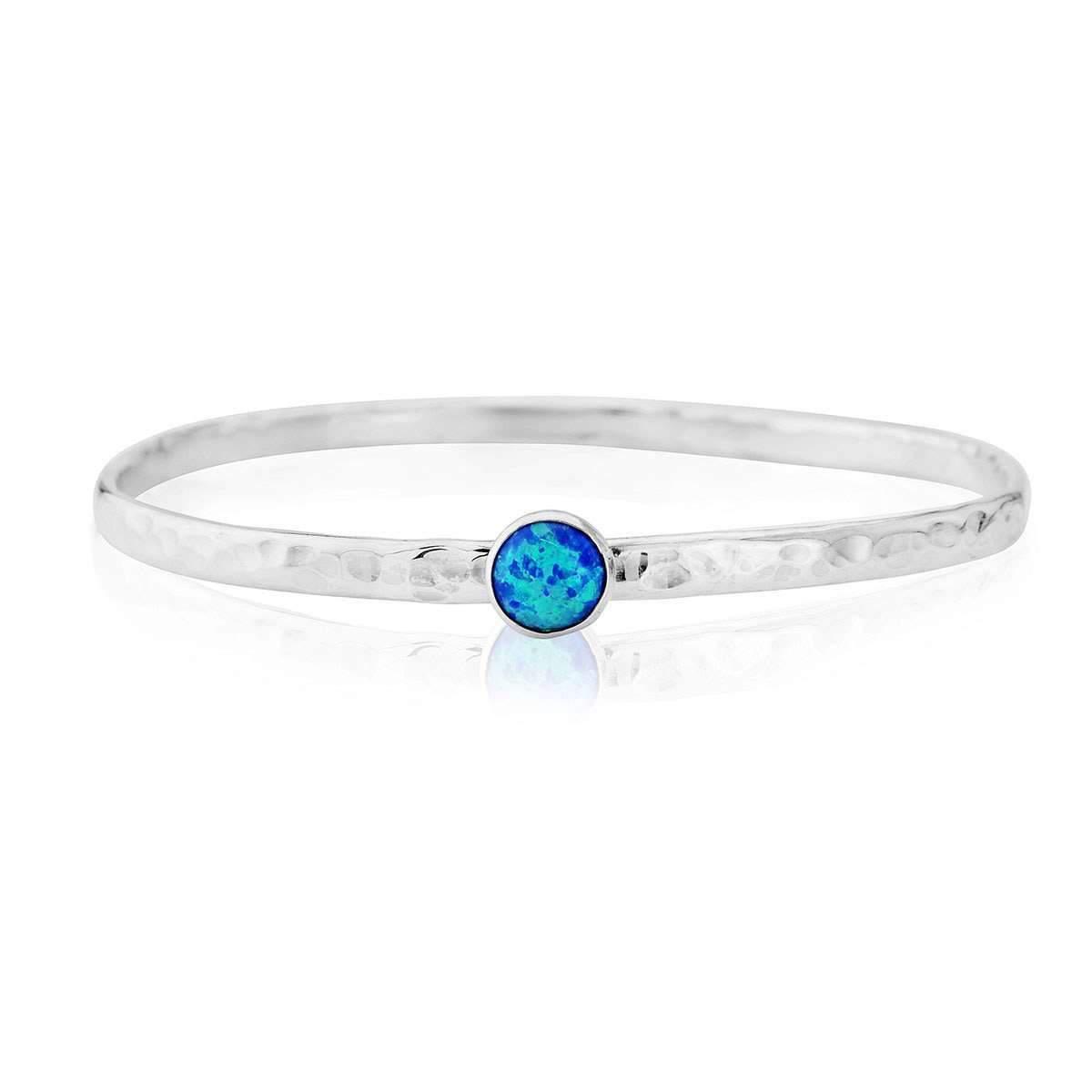 Lavan Sterling Silver & Blue Opal Bangle b3vQQWU3