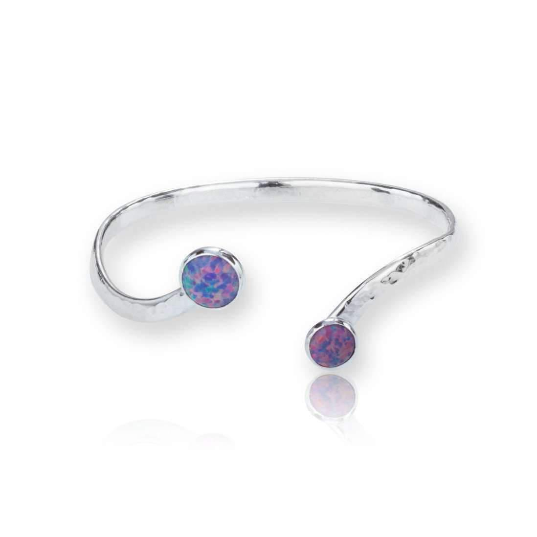 Lavan Sterling Silver Opal Bangle Set With 6 Mm Stones QXH7mE
