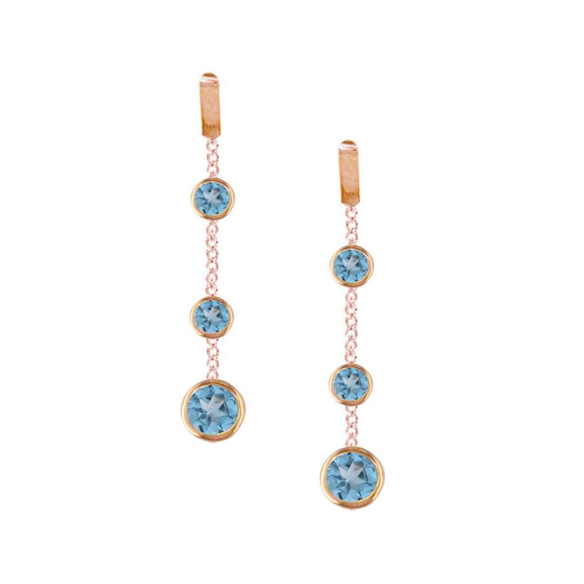 London Road Jewellery Rose Gold Blue Topaz Dew Drop Hoop Earrings NsKyV