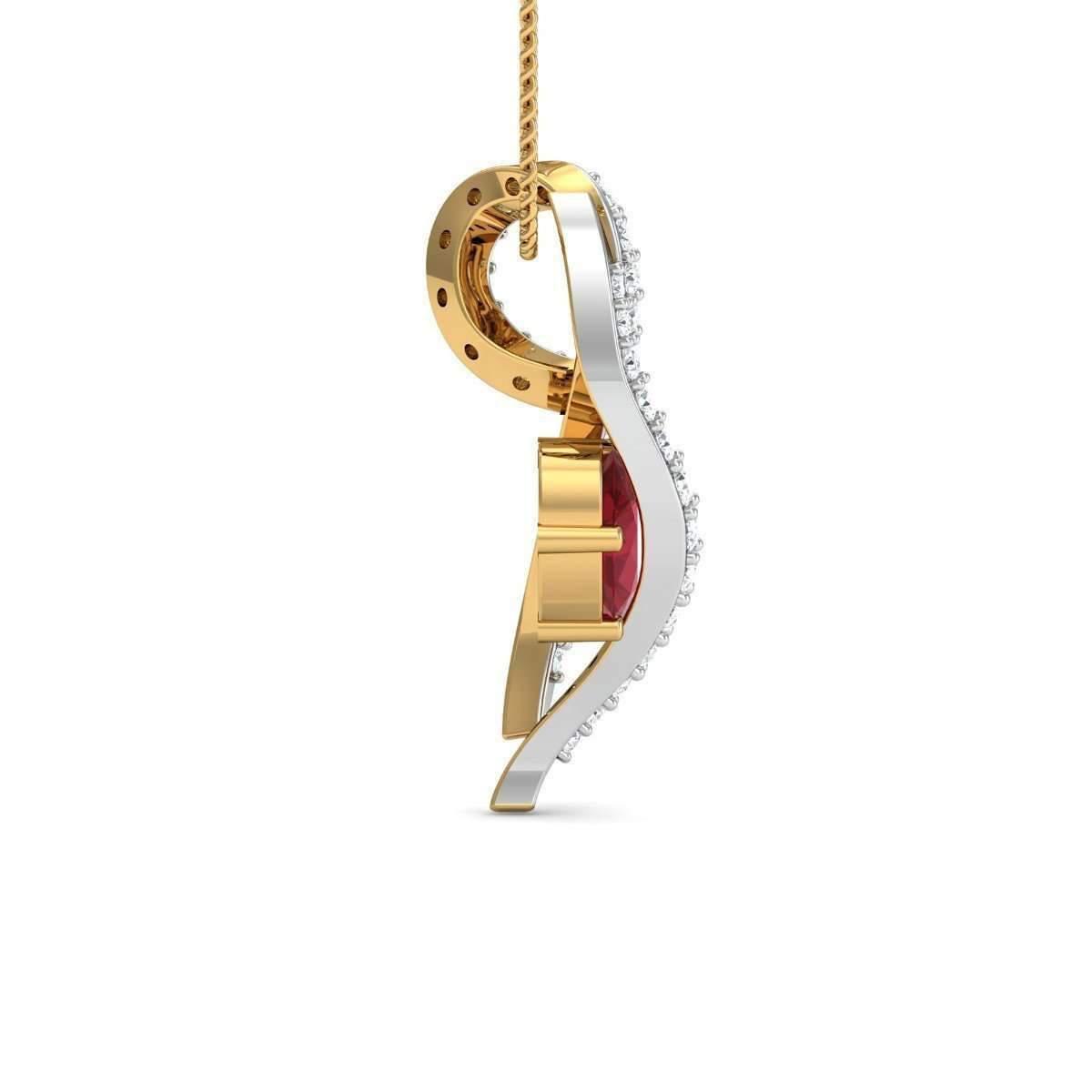Diamoire Jewels Ruby Stripe Diamond Pendant in 18kt Yellow Gold UJx7Goq5a