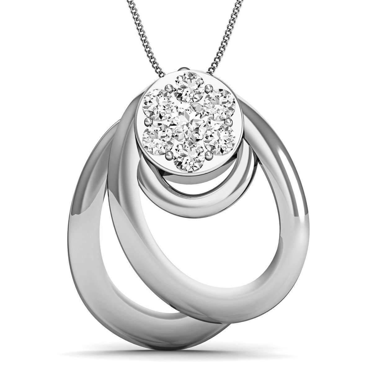 Diamoire Jewels Diamond and 18kt White Gold Nature Inspired Designer Pendant by Diamoire aRNfH8