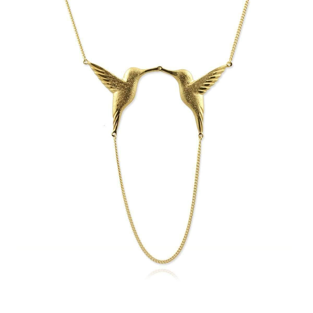 Jana Reinhardt Gold Plated Silver Twin Hummingbird Necklace 328vLoO