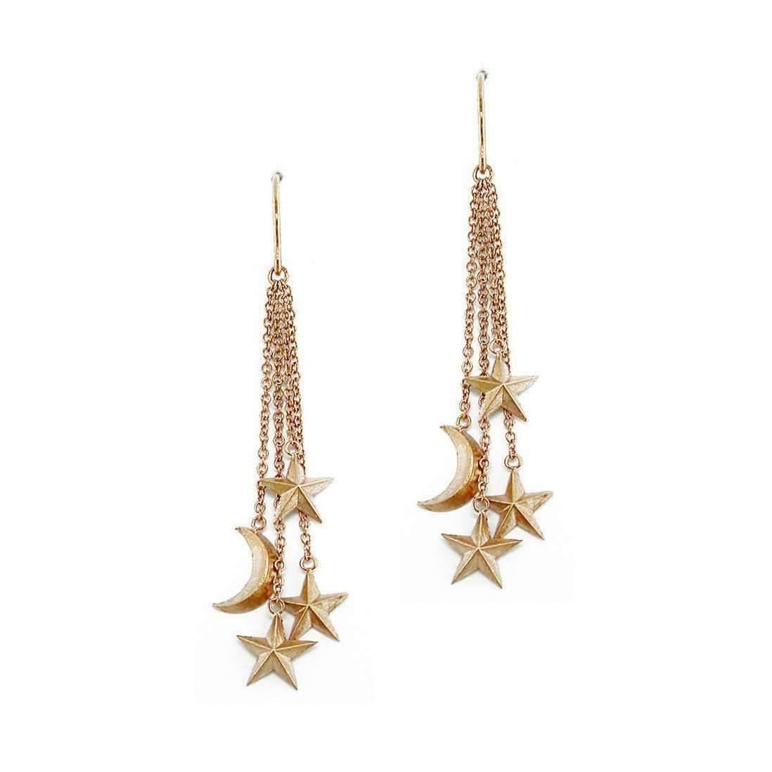 London Road Jewellery Portobello Rose Gold Starry Night Moon Stud Earrings F7qH9j2