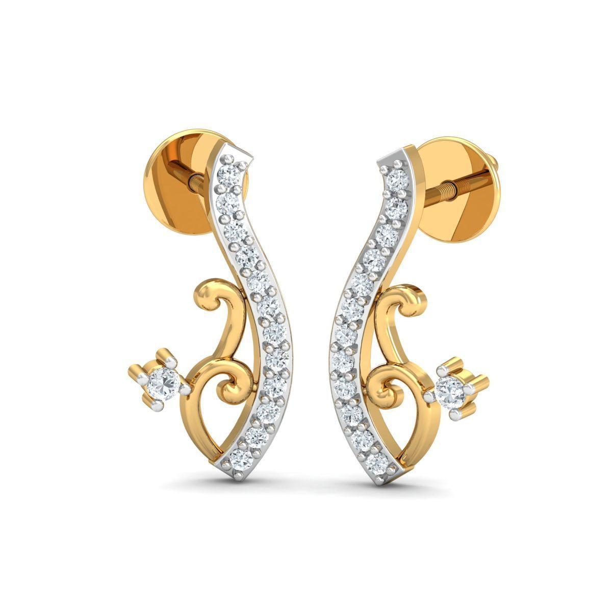 Diamoire Jewels 18kt Yellow Gold 0.10ct Pave Diamond Infinity Earrings II SL2LH