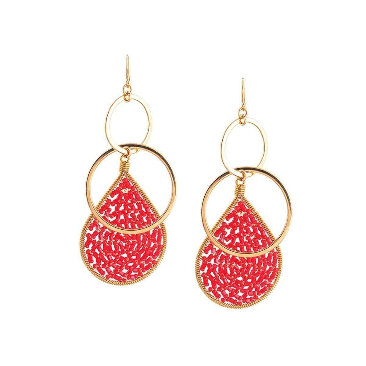 Devon Leigh Red Teardrop Chandelier Earrings Fiog02