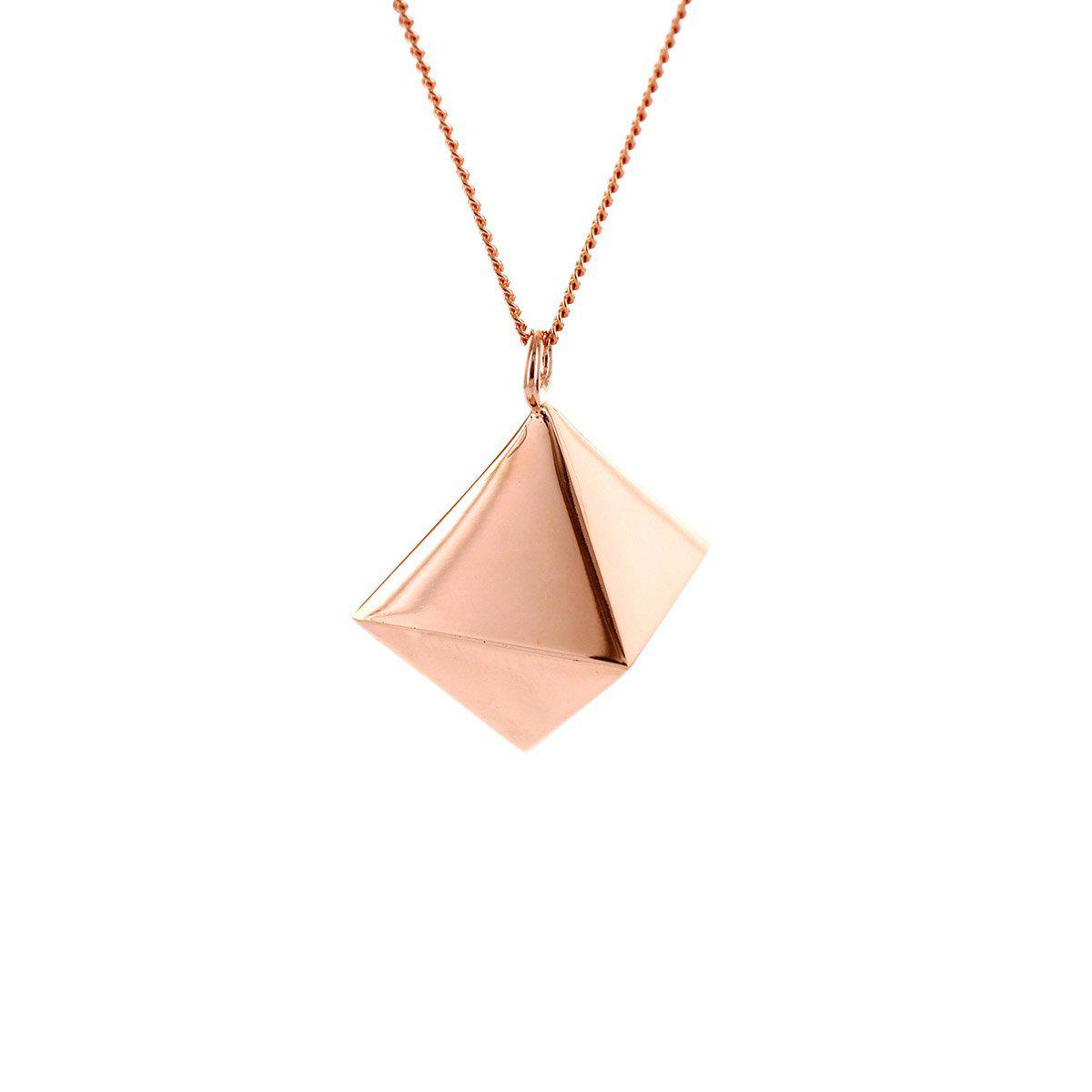 Origami Jewellery Sterling Silver & Pink Gold Mini Octagem Origami Necklace Yxgh8