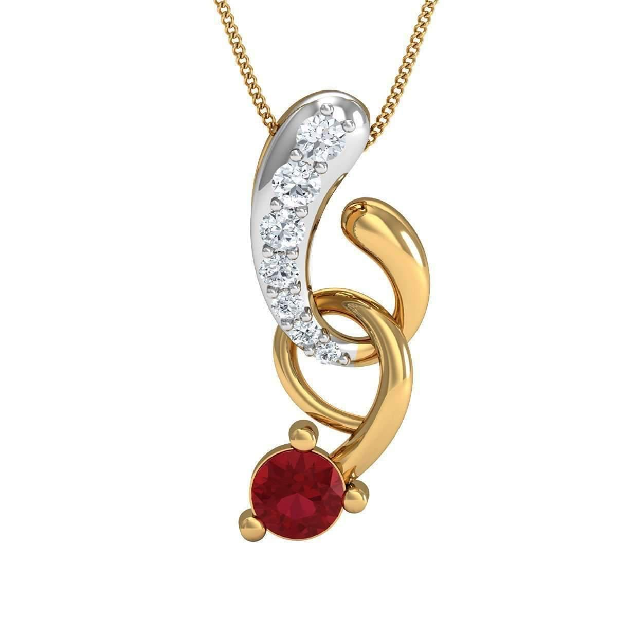 Diamoire Jewels Nature Inspired Pave Pendant in 10kt Yellow Gold, Diamonds and Red intense Ruby