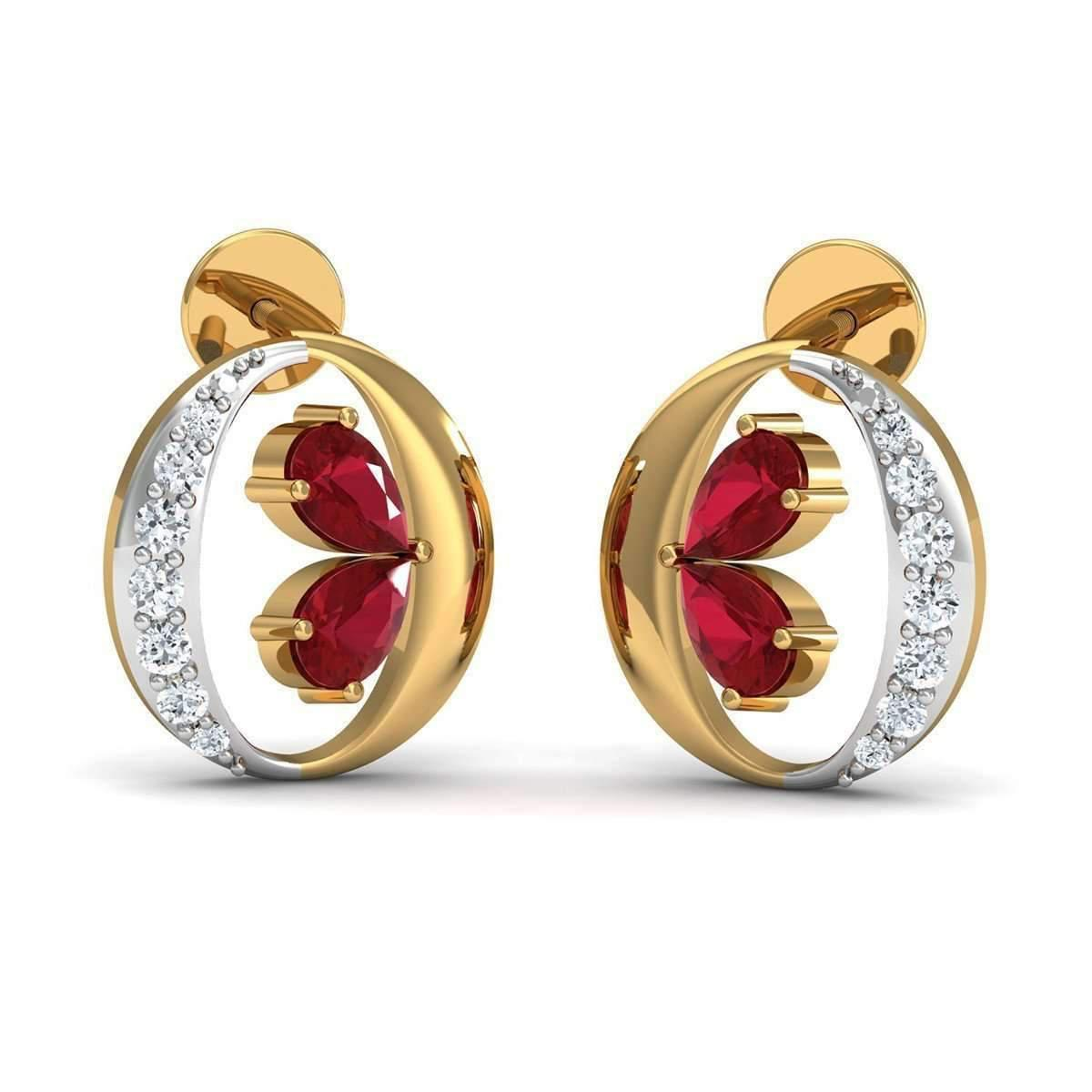 Diamoire Jewels Nature Inspired 14kt Yellow Gold and Pear Shaped Ruby Earrings with Premium Diamonds ZSAlYpQIea