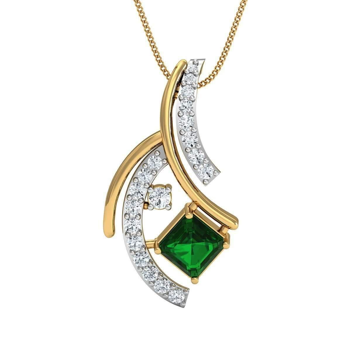 Diamoire Jewels Hand-carved 10kt Yellow Gold Pendant Set With Premium Emeralds and Diamonds aPehez43