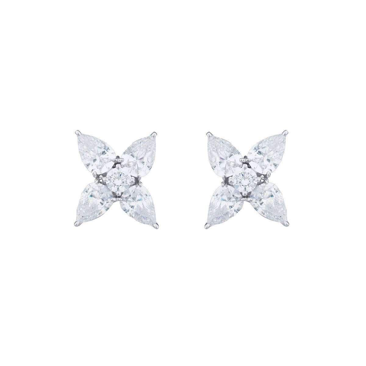 Fantasia Sterling Silver Marquise Cut Flower Button Earrings RplTvteQd