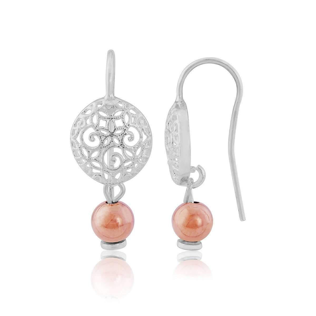 Lavan Sterling Silver & Rose Gold Teardrop Filigree Earrings GwolrWq