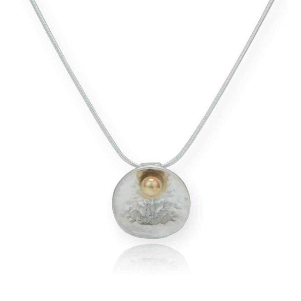 Lavan Contemporary Sterling Silver & 9kt Gold Necklace - 16 Inches OXVHKzN