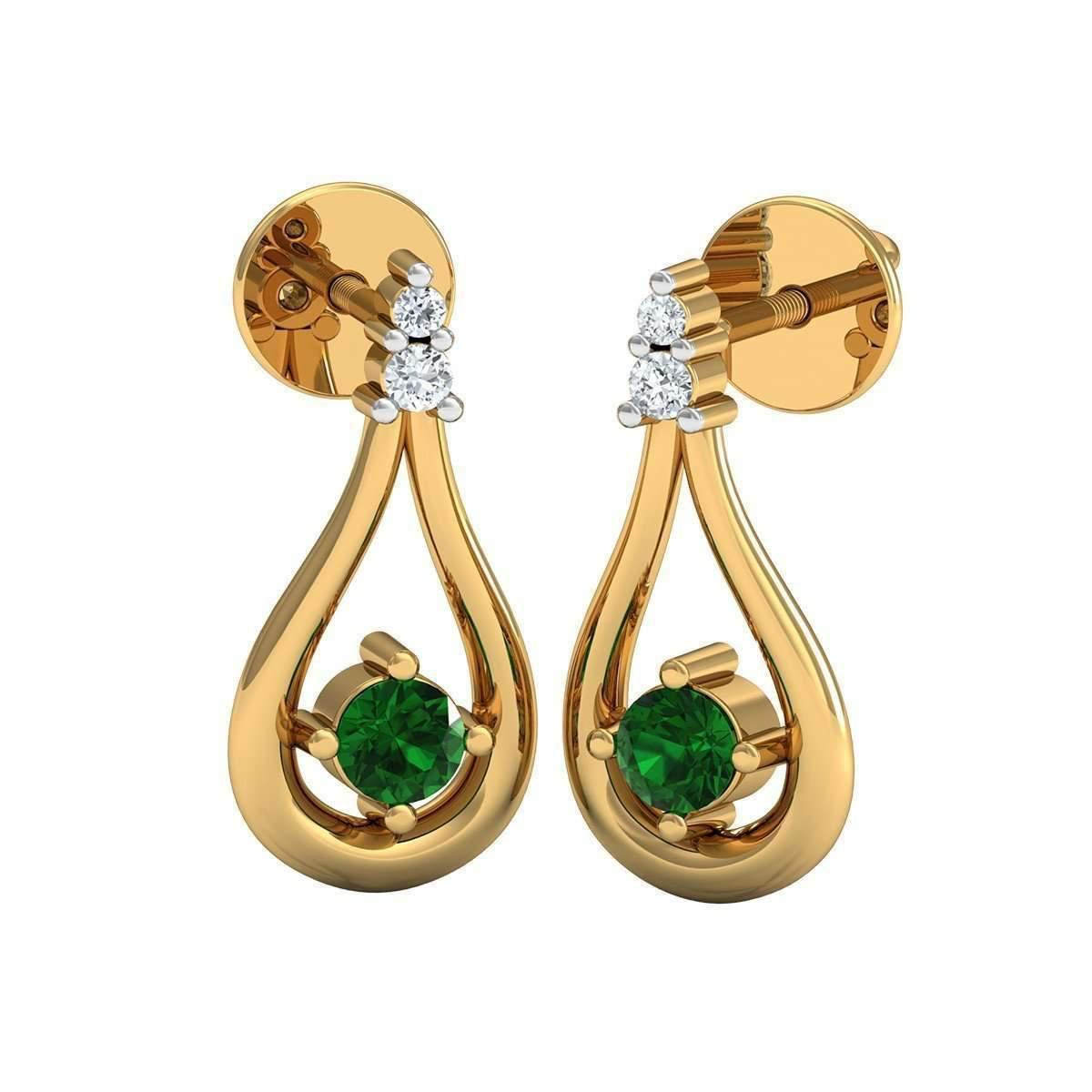 Diamoire Jewels Hand-carved 10kt Yellow Gold Prong Emerald Earrings with Diamonds pIveIvRtxh