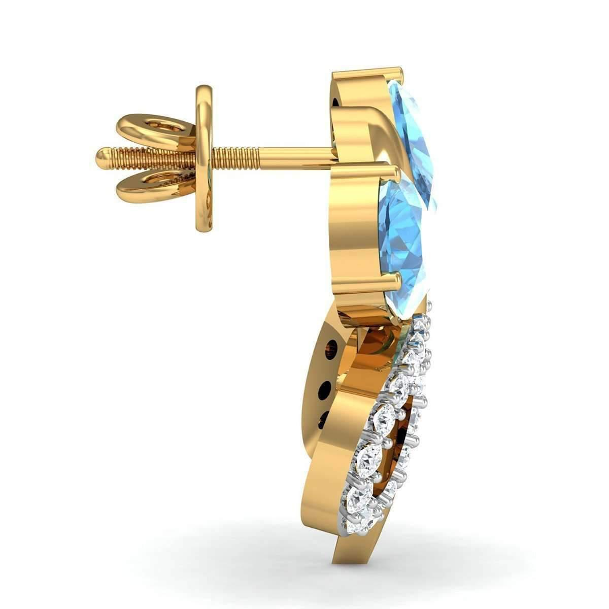 Diamoire Jewels Butterfly Aquamarine and Diamond Earrings in 14kt Yellow Gold Up7qMBW2Yf
