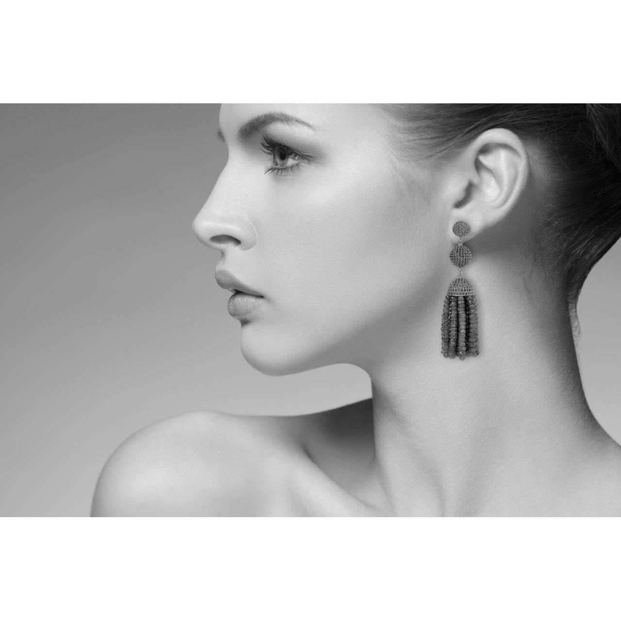 Latelita London Tassel Ball Peridot Oxidized Earrings mrRwcQq6