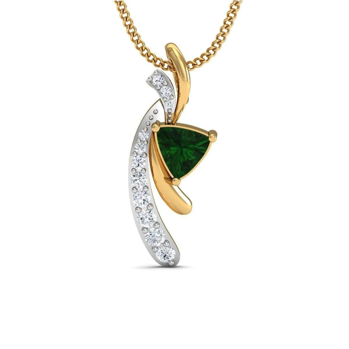 Diamoire Jewels Emerald Cut Emerald Pendant with Premium Diamonds in 10kt Yellow Gold iTW0zdp8