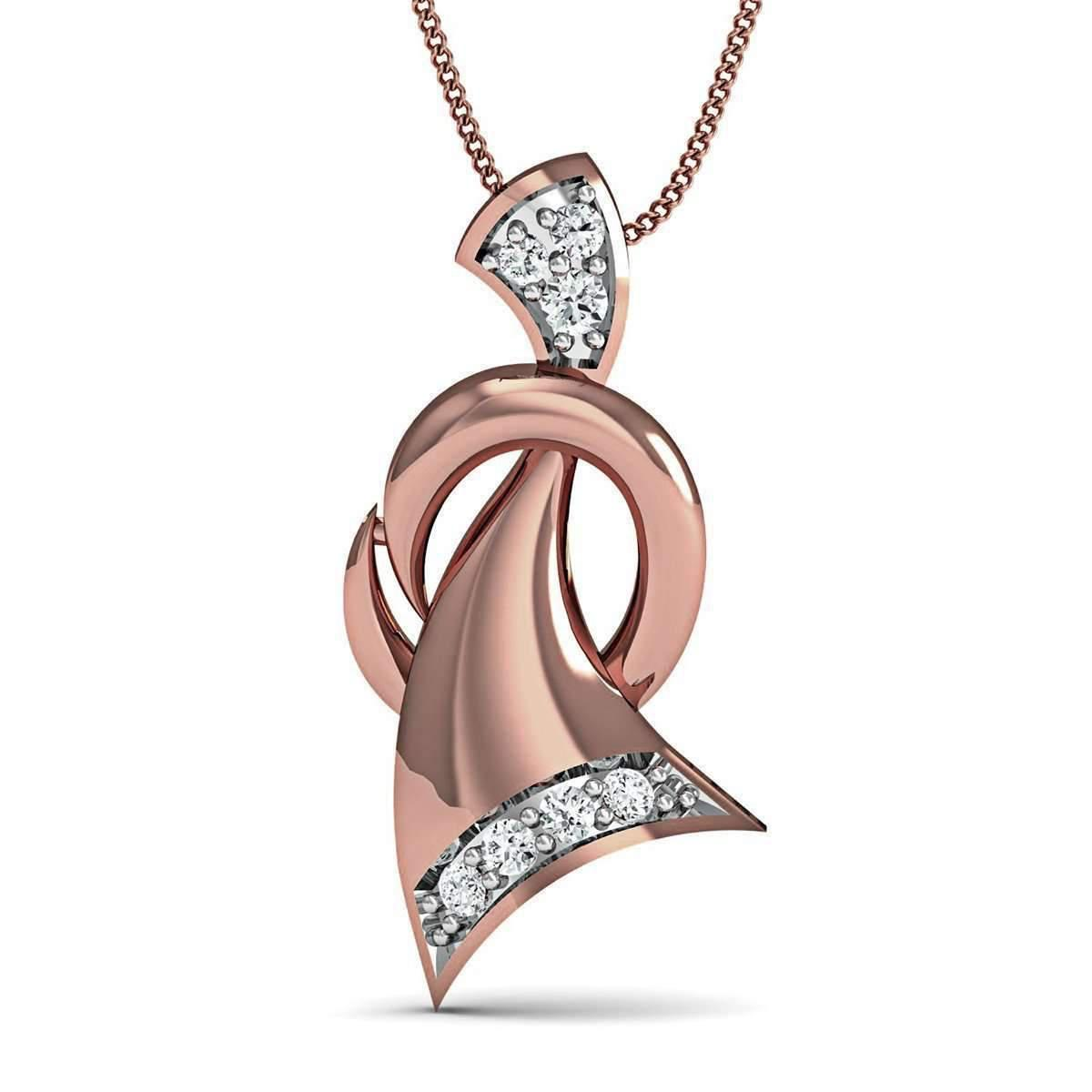 Diamoire Jewels Pave Set 7 Diamond Pendant Inspired by Nature in 10kt Rose Gold E6FBJ4