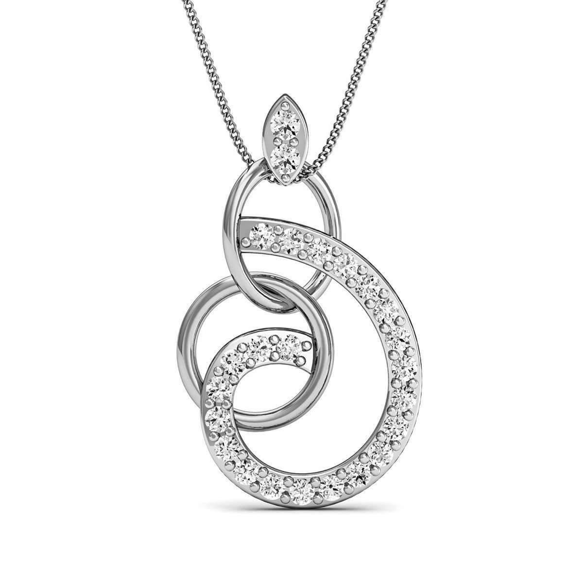 Diamoire Jewels White Round Cut Swarovski Zirconia Set Heart Pendant in 10Kt White Gold 2HhjjNclC