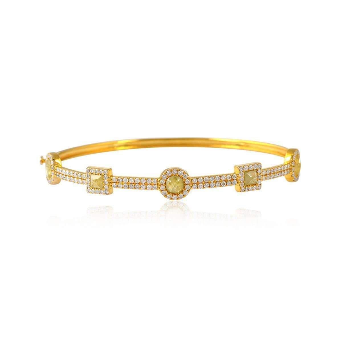 Socheec Divine Gold and Diamond Bangle Eha3PC74
