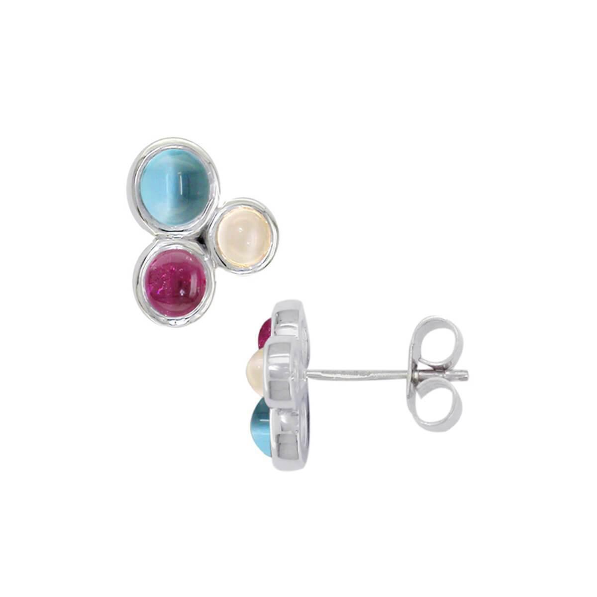 London Road Jewellery White Gold Multi-Gem Earrings NGHMDl