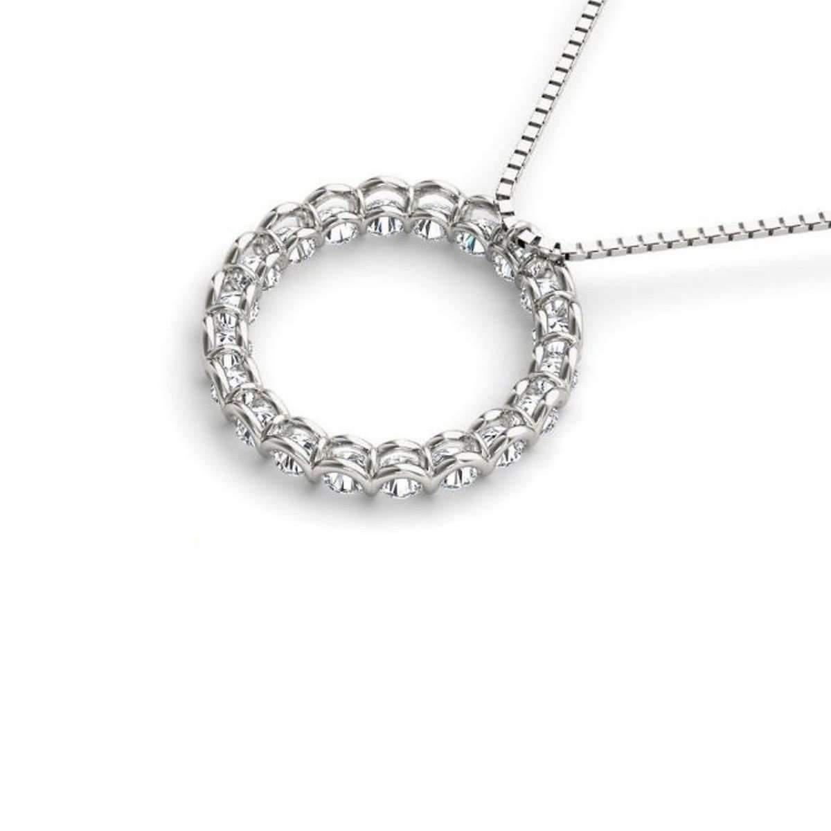 Diamoire Jewels White Round Swarovski Zirconia Pendant in 10Kt White Gold gPt86RQ