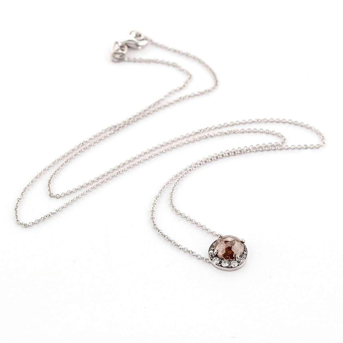 Sylva & Cie. White Gold Rough Diamond Moon Pendant With Chain LNN3JfUwvO