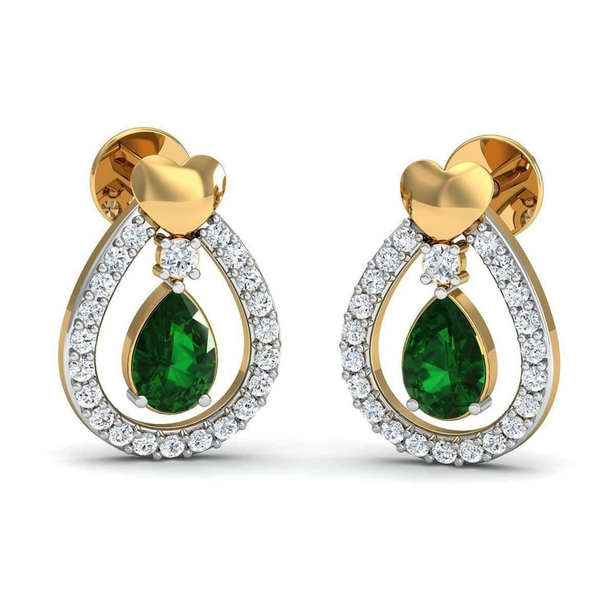 Diamoire Jewels Hand-hammered 10kt Yellow Gold Earrings with Pear Cut Emerald and Round Diamonds TIhmds544y