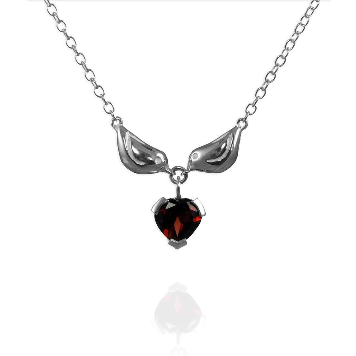 Jana Reinhardt Sterling Silver & Ruby Little Sparrow Charm Necklace - 42cm (16) VJcUt1a