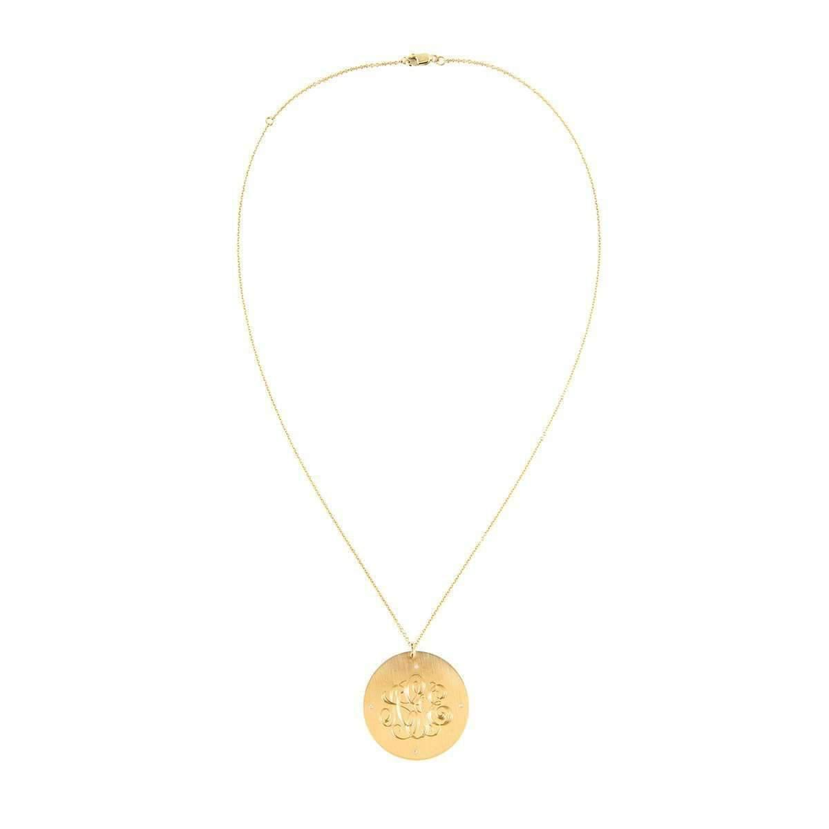 Emily & Ashley Classic Charm Disc with Diamonds Necklace sa8BZM7nJ1