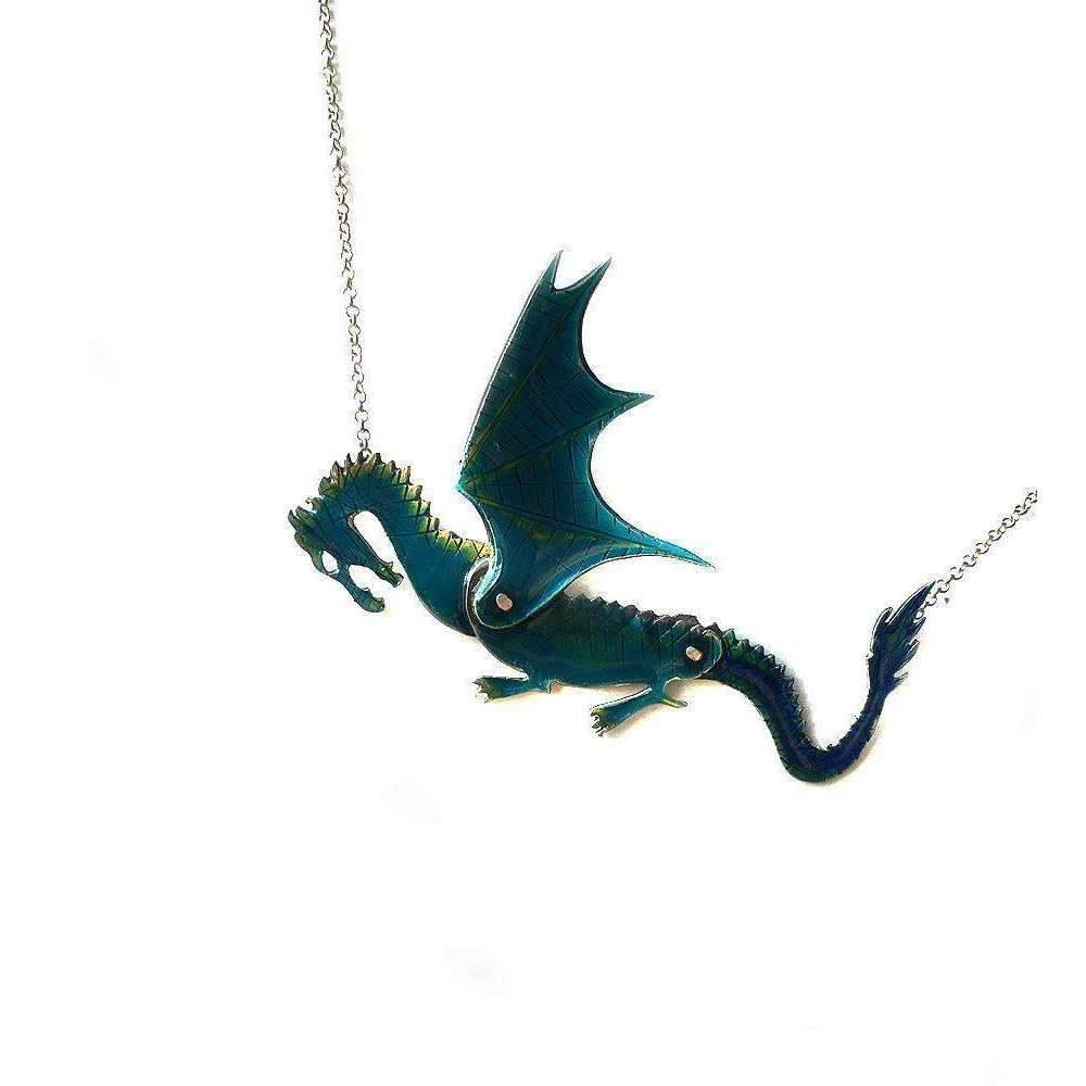 toosis Sterling Silver Dragon Puppet Necklace