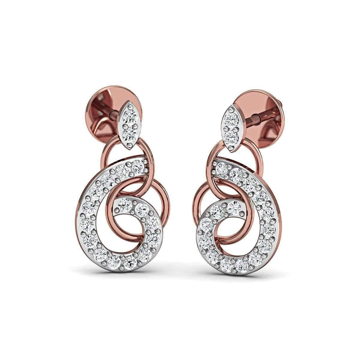 Diamoire Jewels 14kt Rose Gold and Diamond Pave Earrings 9obqU8