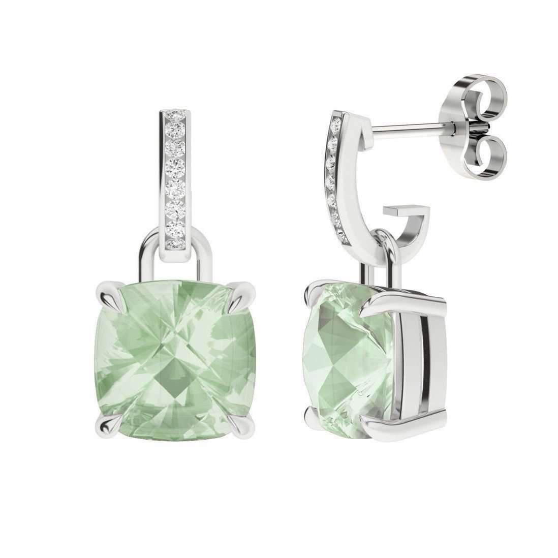 StyleRocks Green Amethyst 9kt White Gold And Diamond Drop Earrings MYU8S