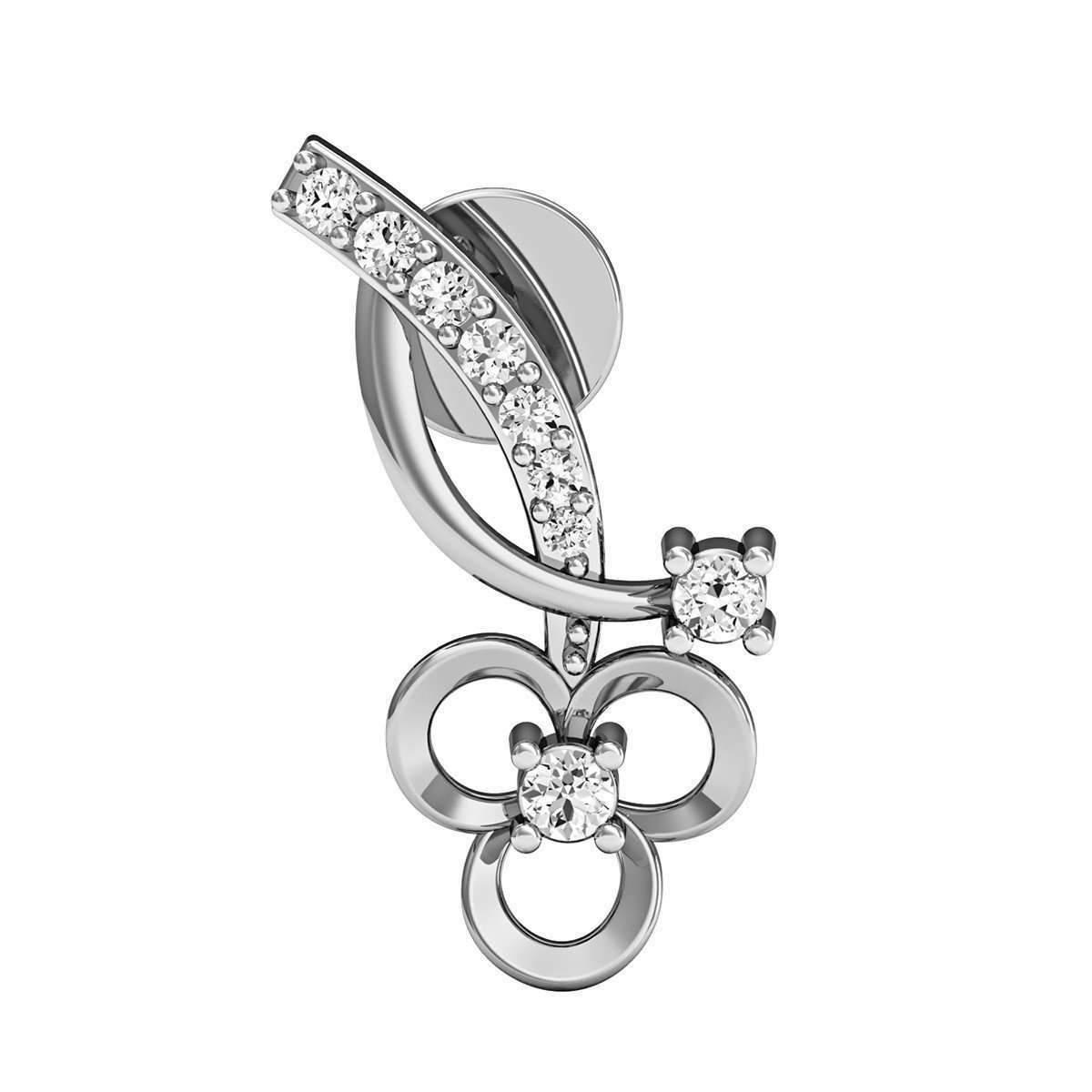 Diamoire Jewels Handmade 14kt White Gold and Diamond Earrings Inspired by Nature wMghXxI9TY