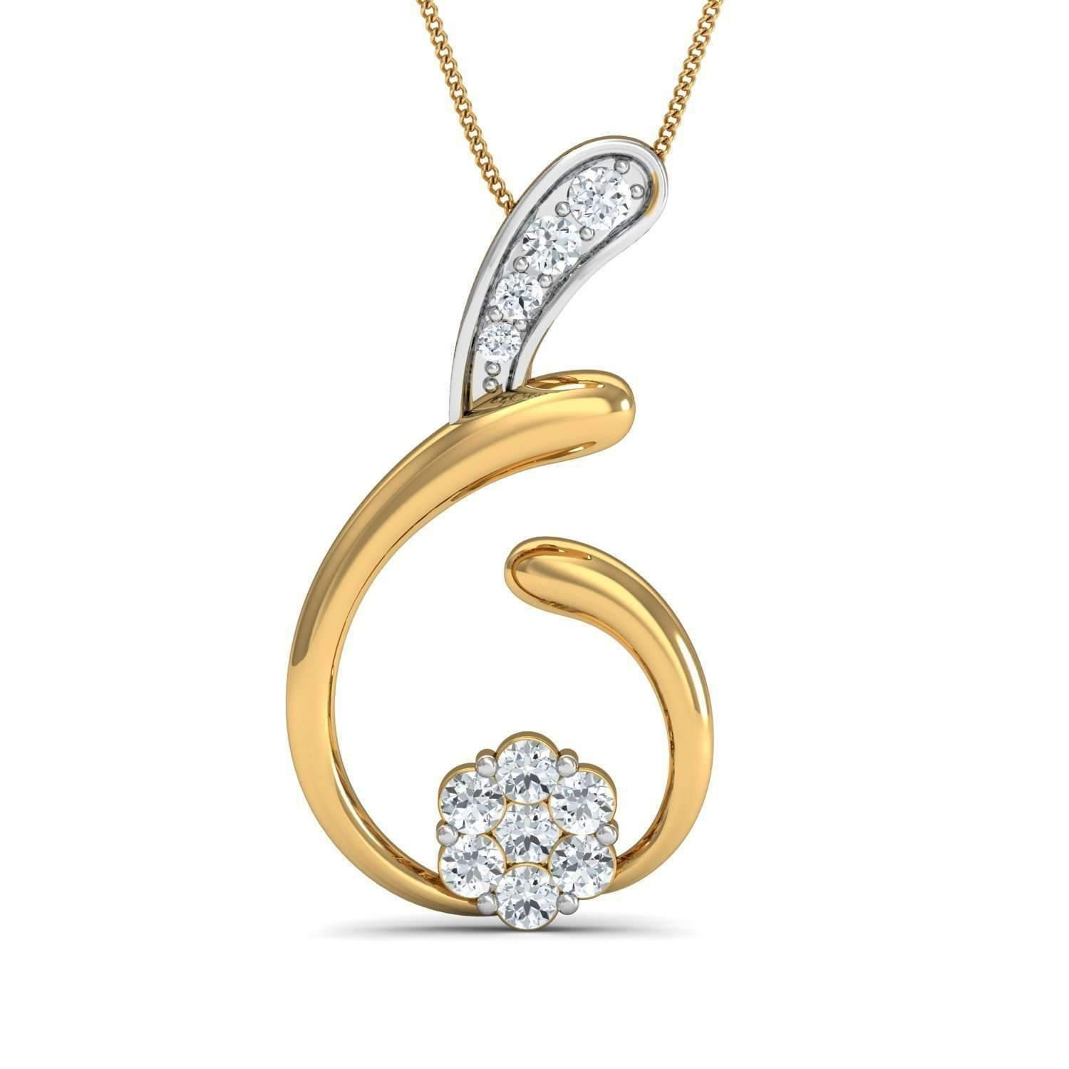 Diamoire Jewels Hand-carved 10kt Yellow Gold Nature Inspired Diamond Pave Pendant GMpnjTh