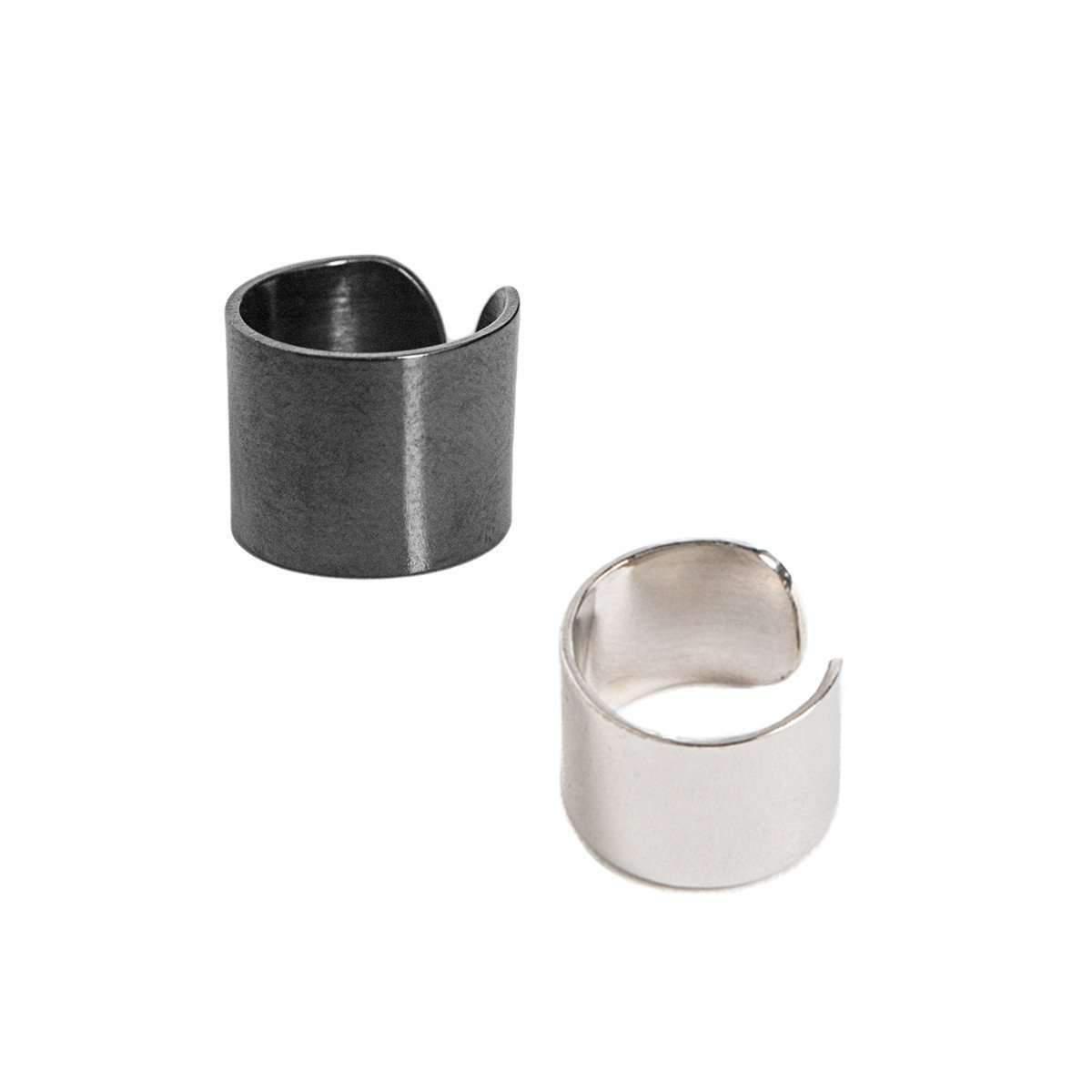 Dutch Basics Silver & Oxidized Silver Set Ear Cuff Thick Zg214