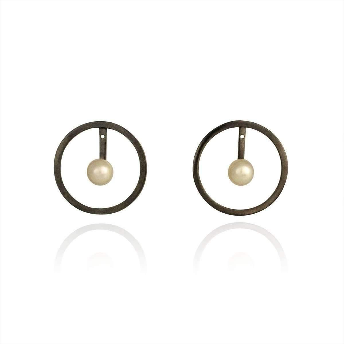 Cara Tonkin Oxidised Silver Orbit Halo Front And Back Earrings Htgl0d