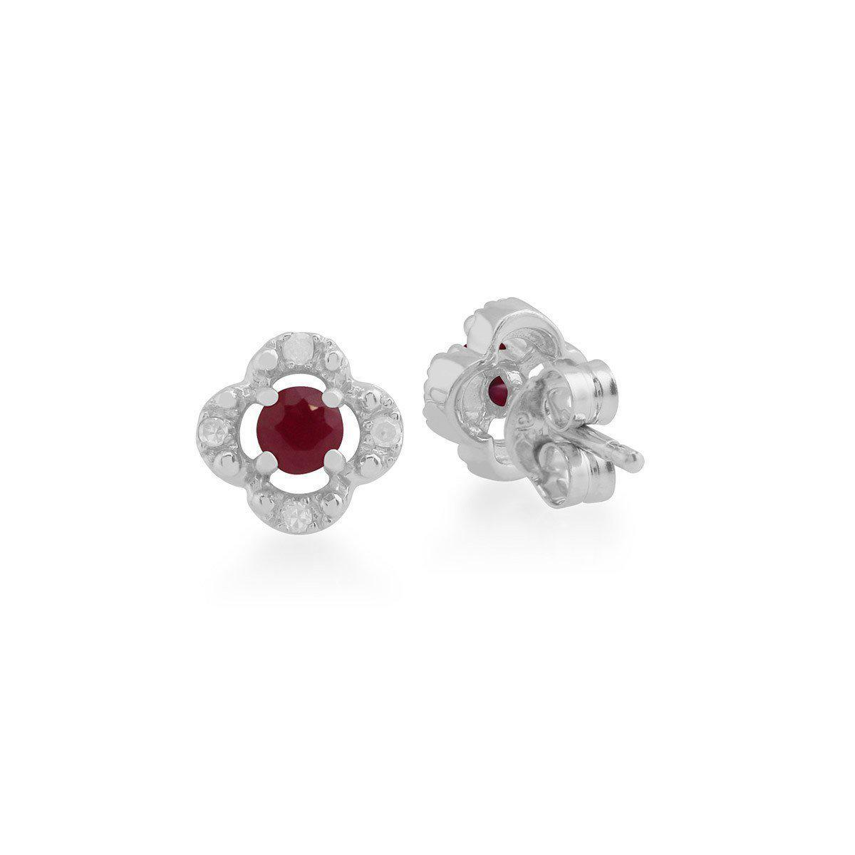 5d5761ed490dc1 Lyst - Gemondo Jewellery Ruby And Diamond Quatrefoil Stud Earrings