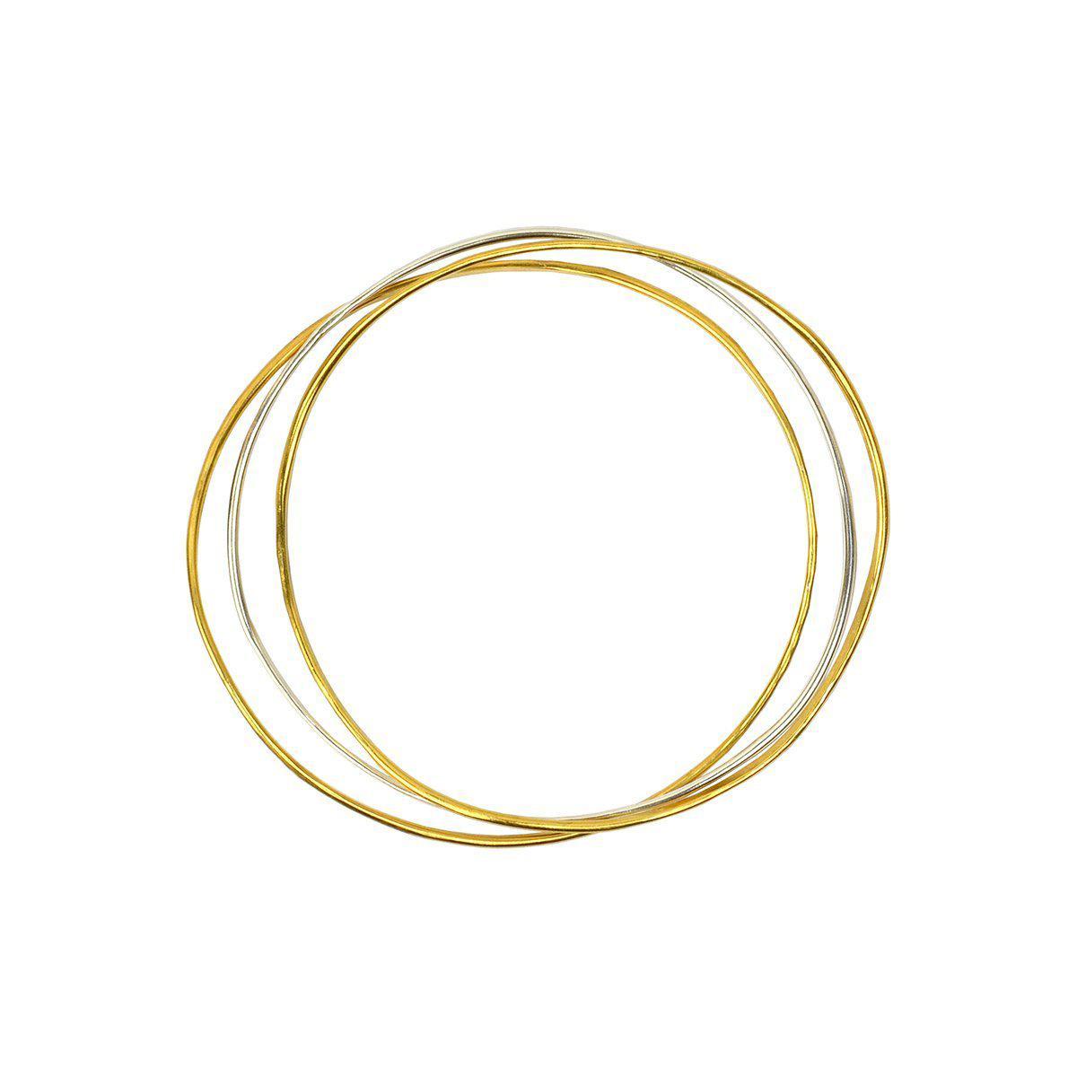 Fran Regan Jewellery Wave Bangle Cluster - Two Vermeil, One Silver